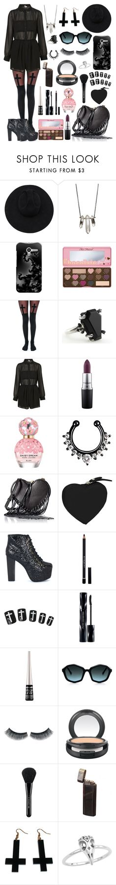 """Dark fashion style #81"" by xblackbettyx ❤ liked on Polyvore featuring Gladys Tamez Millinery, ZoÃ« Chicco, Casetify, Too Faced Cosmetics, Leg Avenue, MAC Cosmetics, Marc Jacobs, Rebecca Minkoff, Clava and Jeffrey Campbell"