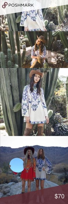 Lenni The Label Free People Boho Mini Dress S NWOT Lenni The Label Mini Boho Batwing Sleeve Paisley Boho Gypsy Dress. Zip closure. Worn once to shoot brand's Lookbook. Perfect for any occasion. Free People Dresses Mini