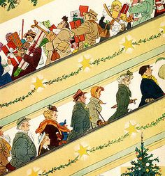 Christmas Shopping, art by Oscar Cahen - detail from cover December 14, 1952 Maclean's Magazine.