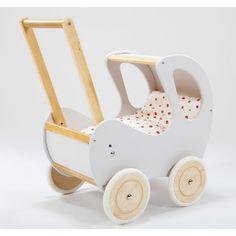 Biało-brązowy, głęboki wózek z drewna dla lalki - zabawki dla dziewczynek - ZieloneZabawki.pl