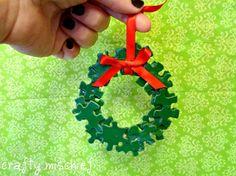 Puzzle piece wreath - cute idea I have plenty of puzzle pieces to use!