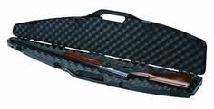 """Plano 10489 Gun Guard SE Contour Single Scoped Rifle/Shotgun Case by Plano. $31.41. With a rugged look and solid protection for the beginning sportsman, this case holds a shotgun or rifle with a standard or high-mount scope. Gun Guard SE Series cases feature contoured recessed latches, padlock tabs for added security and strong, rigid ribbed construction.  Product dimensions:  52.5"""" long x 11.32"""" wide x 3.25"""" high"""