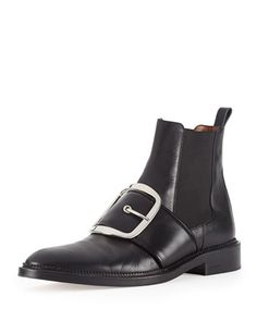 Buckle-Strap Leather Ankle Boot, Black by Givenchy at Bergdorf Goodman.