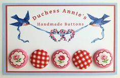 Button Card With Covered Buttons and Vintage Bluebird Illustration with Gingham and Roses Fabrics. $8.50, via Etsy.