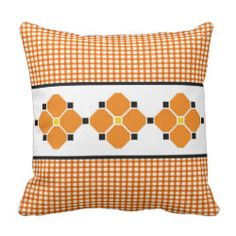Gingham and Flowers Pillow in Orange