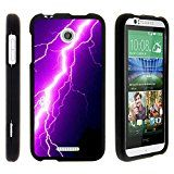 HTC Desire 510 Phone Case, Slim Hard Shell Snap On Case with Custom Images for HTC Desire 510 (Sprint, Cricket, Boost Mobile, Virgin Mobile) from MINITURTLE | Includes Clear Screen Protector and Stylus Pen - Purple Lightning Bolt