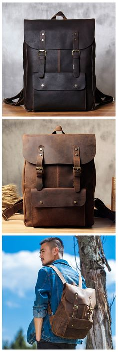 Vintage Genuine Leather School Backpack Casual Rucksack Travel Backpack Laptop Bag 9452 -------------------------------- Overview: Design: Vintage Genuine Leather Backpack In Stock: 3-5 Business Days