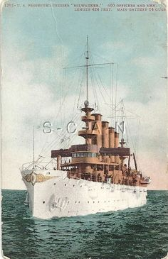 1906-1917 Divided Back PC- US Navy Armored Cruiser Milwaukee- Great White Fleet