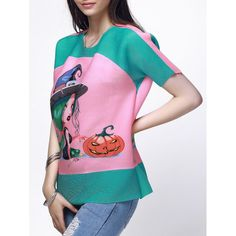 Stylish Scoop Neck Short Sleeve Face Print Loose-Fitting Blouse For Women #CLICK! #clothing, #shoes, #jewelry, #women, #men, #hats