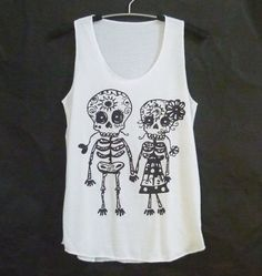 Cute clothes Skull tank top size S M L white sleeveless top/ singlet/ women t shirt/ teen girls clothing