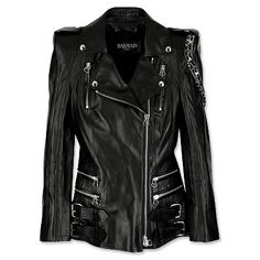 Balmain Motorcycle Jacket  I once saw a Harley-Davidson T-shirt that read: I own a bike, not just a t-shirt. I think possessing this outrageously of-the-moment fitted leather jacket, with its sharp, peaked shoulders (a defining fall trend), implies that you've got something way better than a hog—a yacht. Although I have a bike/a Hog at that, and not a yacht, I love the jacket. I'll stick with my $100 version though. SERIOUSLY, what do people do for a living that can afford these clothes and…
