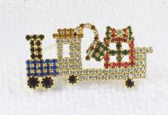 Vintage Rhinestone Christmas Train Pin by SultanaVintageJewels