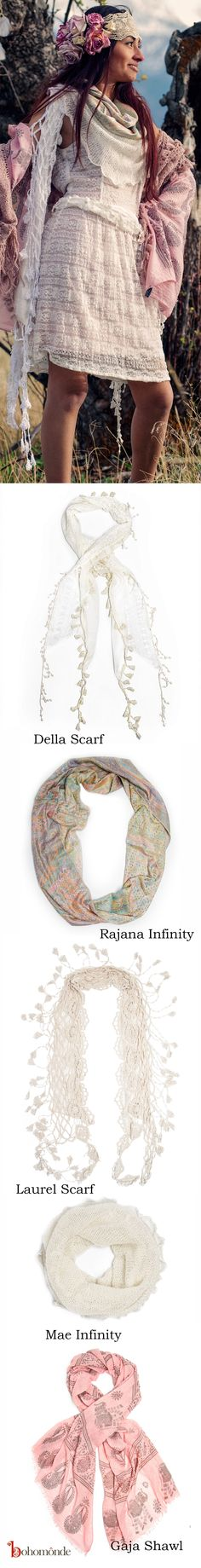 Boho fashion set, with some beautiful fashion scarf boho accessories:  Della Scarf - http://amzn.to/1InpnC1  Rajana Infinity - http://amzn.to/1Bs4fIS  Laurel Scarf - http://amzn.to/1s3f6Gi  Mae Infinity - http://amzn.to/1yZ2y2k  Gaja Shawl - http://amzn.to/12CyfCE