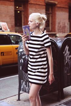 **Black and White Stripes dress...or could be a long shirt with leggings or tights for Fall/Winter
