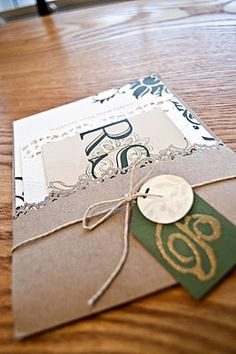 Love the 1/2 envelope with twine and tag