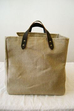 makie housewares - linen tote with leather handles