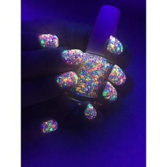 Amazon.com: FUNFETTI: Custom-Blended UV Blacklight Reactive NEON... ($13) ❤ liked on Polyvore featuring beauty products, nail care, nail polish, glossy nail polish and shiny nail polish