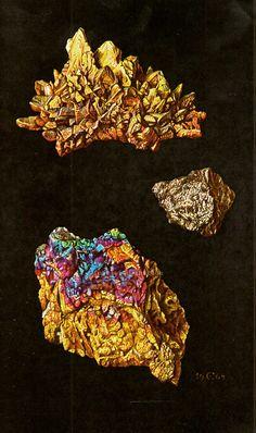 Antique Print, precious stones and minerals