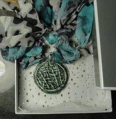 GREEN NET - Made from Real Porcelain - Stylish Turquoise Marble Looking Pendant…
