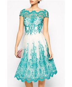 Lovely Clusters Boutique: Chi Chi London Premium Embroidered Lace Prom Dress with Bardot Neck - Green Short Lace Dress, Short Sleeve Dresses, Short Sleeves, Pretty Dresses, Beautiful Dresses, Spandex Dress, Dress Skirt, Bodycon Dress, Gown Dress
