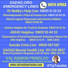Get Immediate Help! Dealing with a crisis or emergency in South Africa Peace In The Valley, Break The Stigma, Self Advocacy, Trauma, Destiny, South Africa, Mental Health, Depression, Anxiety
