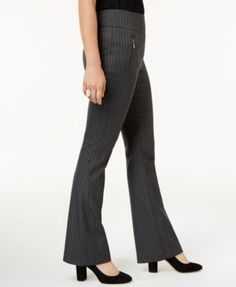 INC Curvy-Fit Pinstripe Bootcut Pants, Created for Macy's - Gray 10