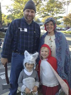 Our family costume for Halloween 2013...the woodsman, grannie, little red riding hood and the wolf.