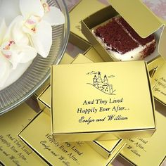 Personalized wedding cake slice favor boxes for sending guests home with some left over sweets. (Traditionally slices of British wedding fruitcake would be distributed by mail all over the country and overseas as a token to guests who were unable to attend . If you didn't want to eat it you could sleep with it under your pillow and dream of your true love.) #wedding #cake #favors