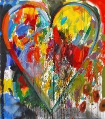 Pour réaliser les coeurs suivants, nous nous sommes inspirés des tableaux de Jim Dine et plus particulièrement de cette série. Nous les avons observés et les enfants ont constaté que le peintre remplissait les coeurs avec des petites touches de peinture....