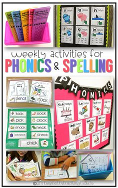 weekly activities for spelling and phonics first grade kindergarten First Grade Phonics, First Grade Reading, First Grade Classroom, Spelling Activities, Interactive Activities, Spelling Lists, Spelling Ideas, Spelling Practice, Work Activities