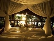 Your Own (Almost) Private Island - Condé Nast Traveler Outdoor Spaces, Outdoor Living, Outdoor Beds, Outdoor Bedroom, Tent Living, Outdoor Life, Dreams Beds, Up House, Bed Styling