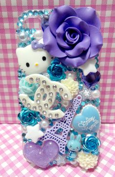 purple and turquoise iPhone 4 Decoden case by CBbitsnpieces, $30.00