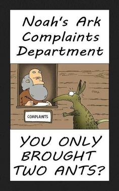 Funny Noah's Ark Complaints Department - You only brought two ants? Christian Comics, Christian Cartoons, Christian Jokes, Jw Jokes, Funny Jokes, Hilarious, Jw Funny, Bible Jokes, Funny Shit
