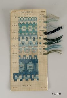 DigitaltMuseum - handmade pattern drawing for the pattern Blue skimmer, neckband, by Anna-Lisa Mannheimer-Lunn, Bohus Knitting Eight different shades of blue, gray and green in eja and angora yarn. Knitting Kits, Fair Isle Knitting, Knitting Charts, Knitting Stitches, Knitting Designs, Hand Knitting, Knitting Patterns, Knitting Tutorials, Textiles