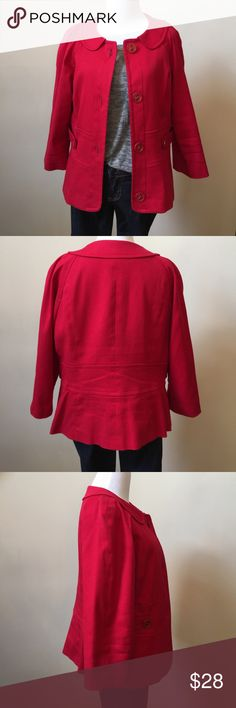 Red Swing Jacket- Perfect Layering Piece for Fall This jacket is in good condition! Fully lined, 3/4 length sleeves. Length is 23 inches from shoulder seam to bottom of hem. The color is a true red. Great with denim or dressed up. Rafella Jackets & Coats
