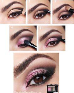 Maquillaje en rosa para ojos marrones. Las reglas básicas del ...