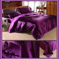 Luxury Purple Mulberry Silk Satin Sheet Duvet and 2 Pillow Cases 4 Pc Bedding Sets 1 Duvet Cover Bedspread, 1 Bed Sheet, 2 Pillow Cases (Fitted Bottom sheet is Extra) Color: Purple Materials: Luxury Mulberry Silk Kin. Satin Sheets, Bed Sheets, China Patterns, Mulberry Silk, Bedspread, Silk Satin, Bedding Sets, Comforters, Duvet Covers