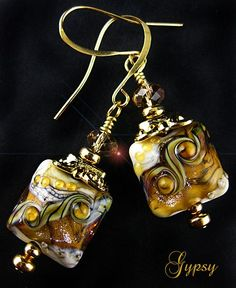 Golden Eyes Earrings - Handmade Lampwork Glass and Crystals