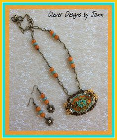 July / August Challenge .. Love these colors .. Choxie and Brass stampings, B'sue Cameo, chain and beads are from my stash .. Clever Designs by Jann .. https://www.etsy.com/shop/CleverDesignsbyJann