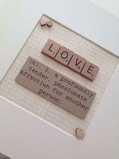 Items similar to LOVE Scrabble Box Frame on Etsy Scrabble Letter Crafts, Scrabble Tile Crafts, Scrabble Letters, Frame Crafts, Crafts To Make, Homemade Gifts, Diy Gifts, Valentines Diy, Box Frames