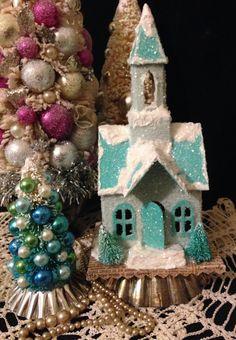 Blue Putz Church Christmas Church Glitter Church by ThePokeyPoodle