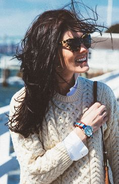 wind swept hair, tort sunglasses, cable knit sweater & watch #style #fashion #preppy
