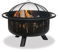 Fire Pit Bowl with Palm Leaf Accents