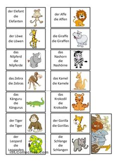 Dominospiel - wilde Tiere