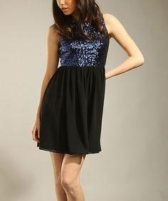 Love this Black & Blue Sequin Chiffon Dress on #zulily! #zulilyfinds