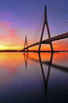 Guadiana Bridge at Sunset, Ayamonte, Huelva, Spain