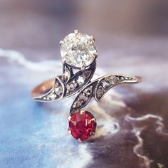 Antique Engagement Ring | Ruby Engagement Ring | Edwardian Engagement Ring Victorian Engagement Ring | Toi et Moi Ring Bypass Ring Two Stone by TheIdolsEye on Etsy https://www.etsy.com/listing/462479770/antique-engagement-ring-ruby-engagement