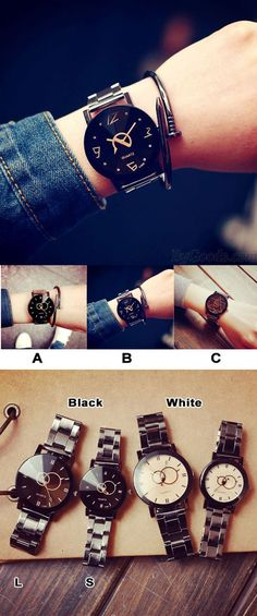 Which color do you like? Harajuku Simple Steel Strip Couple Watch Student Quartz watches #watch #couple #watch #student