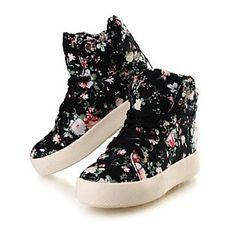 Calçados Femininos - Tênis Social - Plataforma / Conforto / Bico Fechado - Plataforma - Preto / Branco - Lona - Ar-Livre / Casual de 2015 por R$68,54