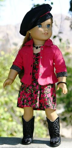 American Girl Doll Clothes- Rose&Black Dress/Linen Jacket/ Faux-Leather Souchy…